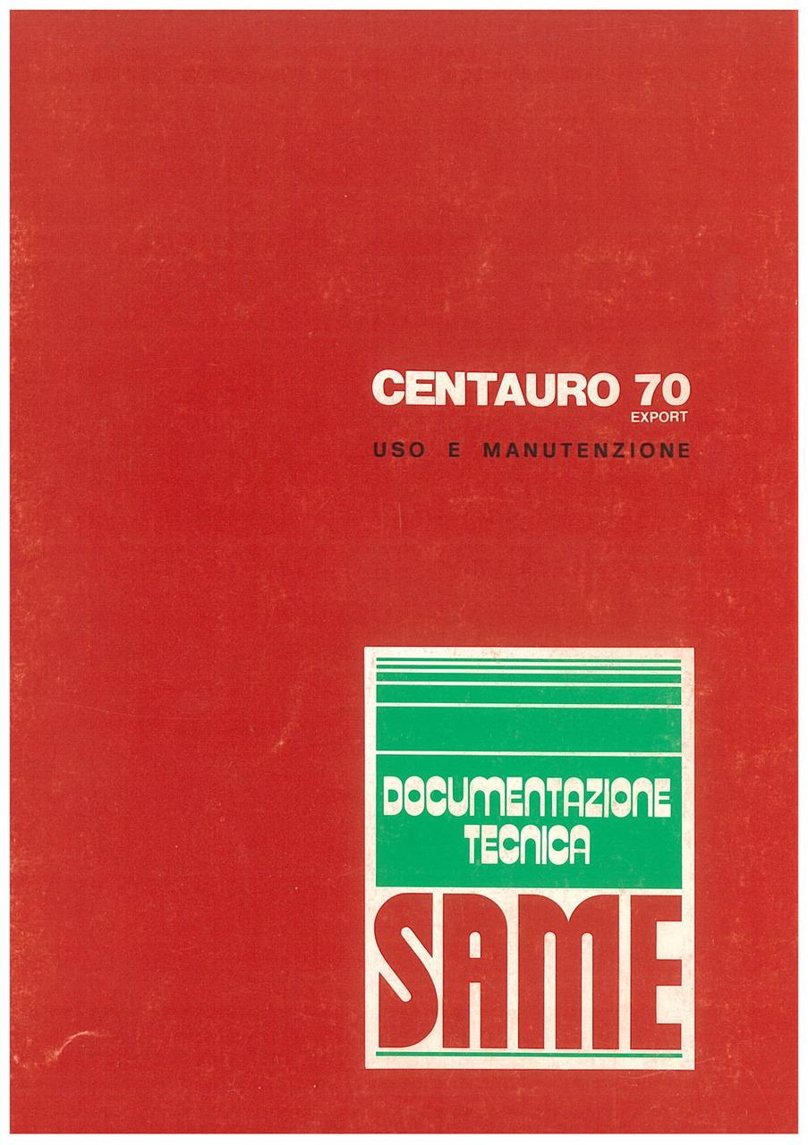 CENTAURO 70 Export - Libretto uso & manutenzione