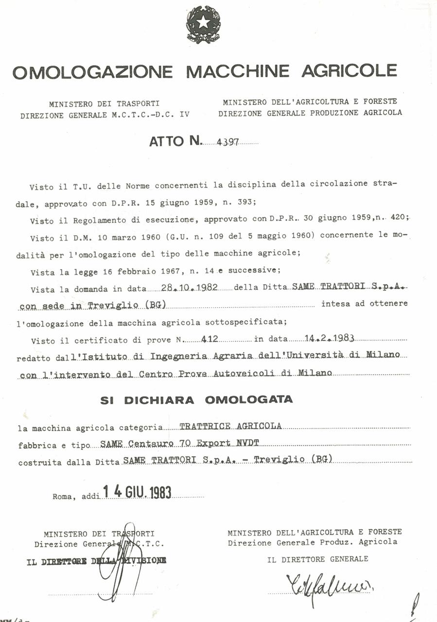 Atto di omologazione della trattrice SAME Centauro 70 Export N VDT