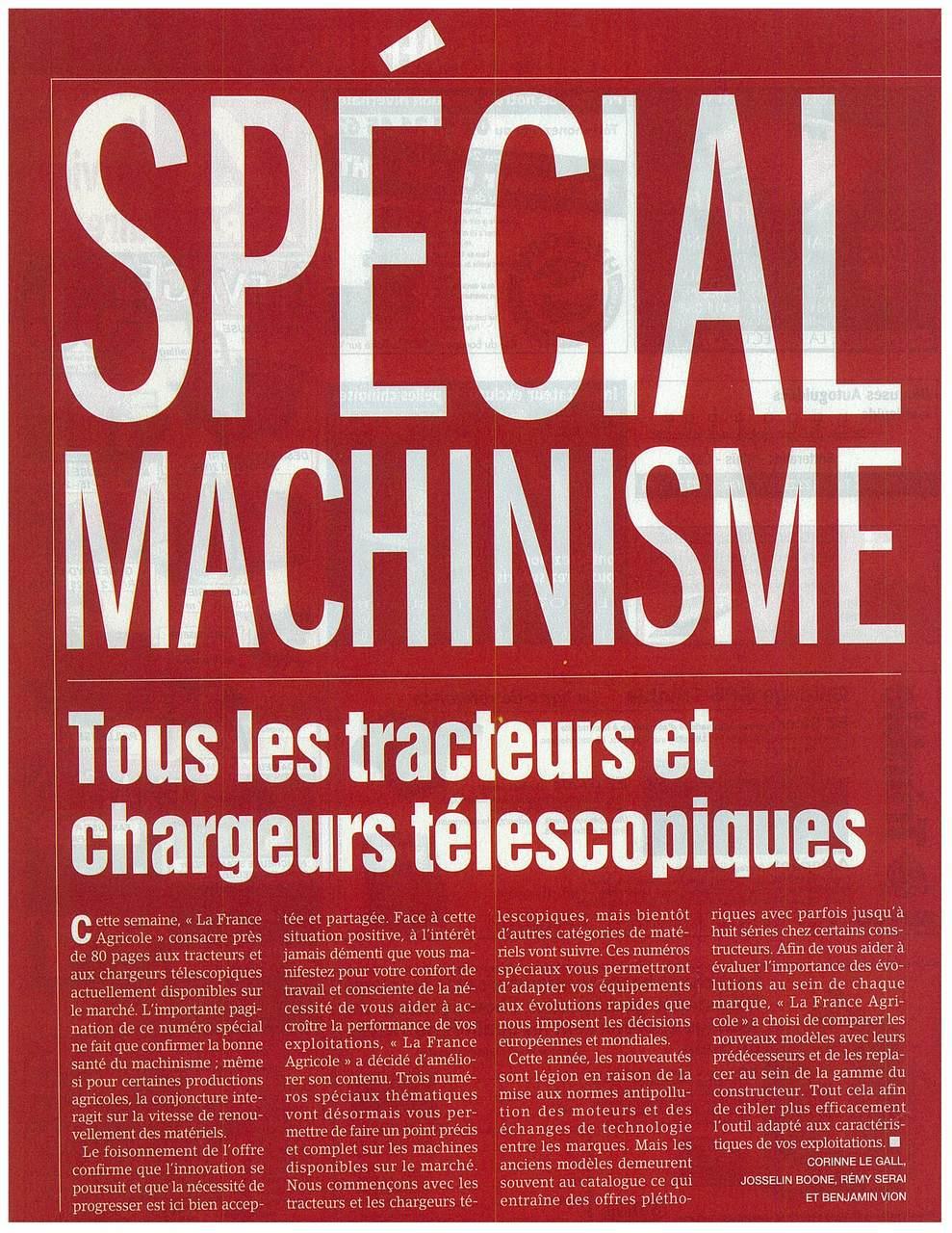 Spécial machinisme: tous les tracteurs et chargeurs télescopiques