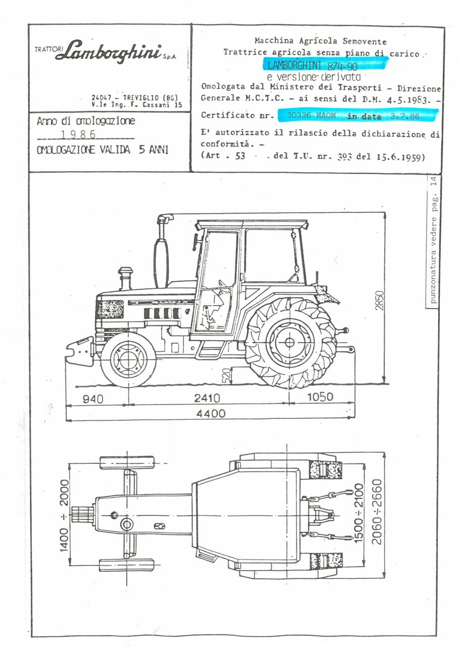 Atto di omologazione della trattrice Lamborghini 874-90 e versione derivata