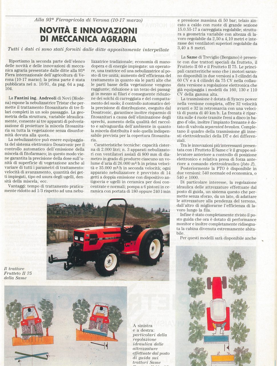 Novità e innovazioni di meccanica agraria