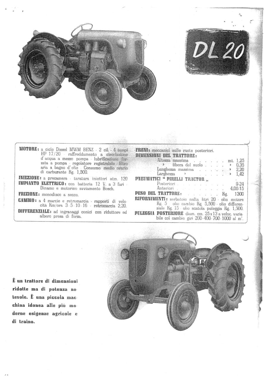 Costruzione trattori agricoli F. Lamborghini - Modelli 1952