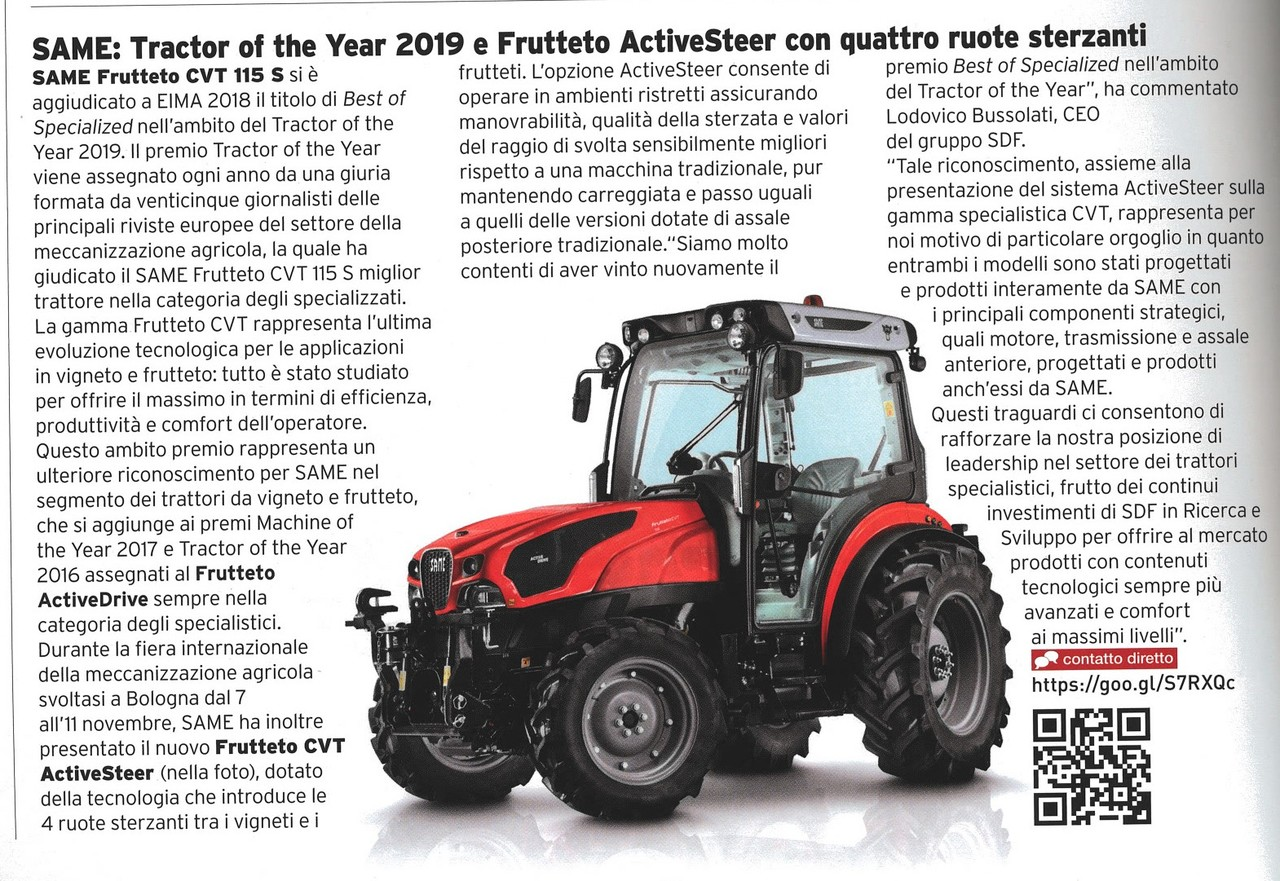 SAME: Tractor of the Year 2019 e Frutteto ActiveSteer con quattro ruote sterzanti