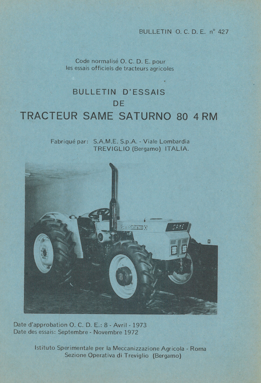 Bulletin d'essais de tracteur SAME Saturno 80 4RM