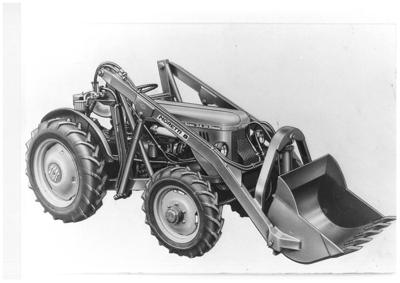 Pala caricatrice con ribaltamento idraulico PIS-3-30 montata su SAME DA 30 a 4 ruote motrici
