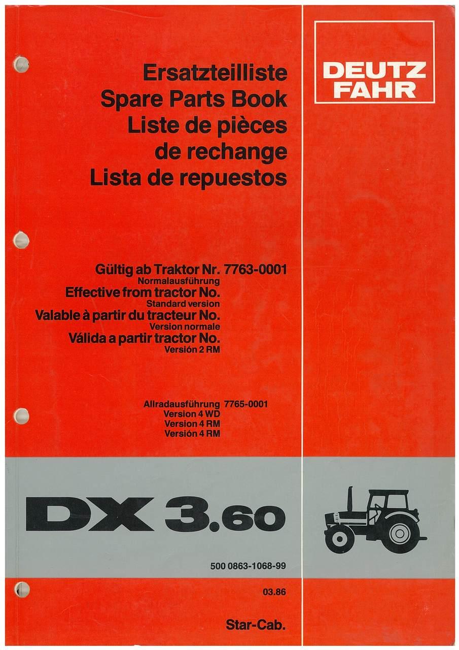 DX 3.60 - Ersatzteilliste / Spare Parts Book / Liste de pièces de rechange / Lista de repuestos