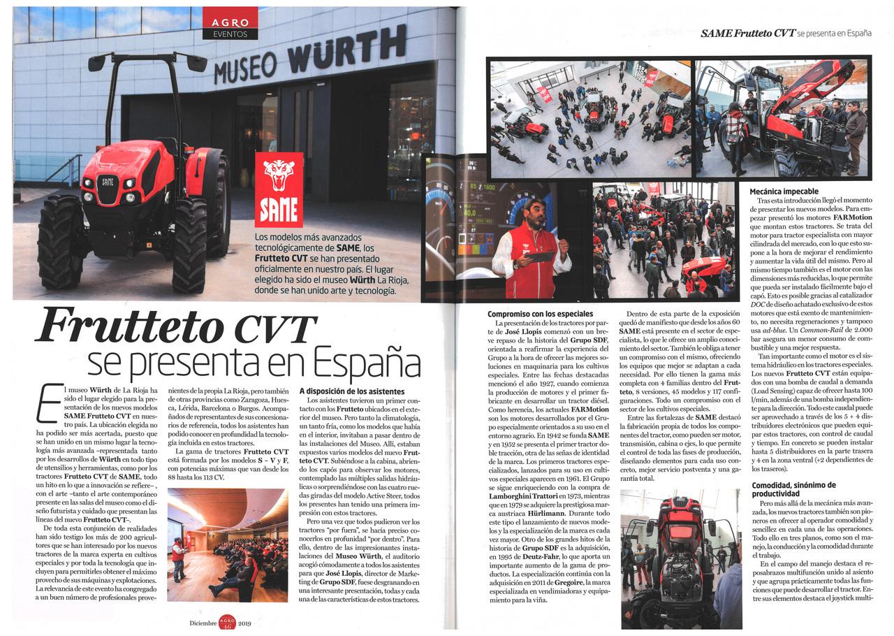 Frutteto CVT se presenta en España