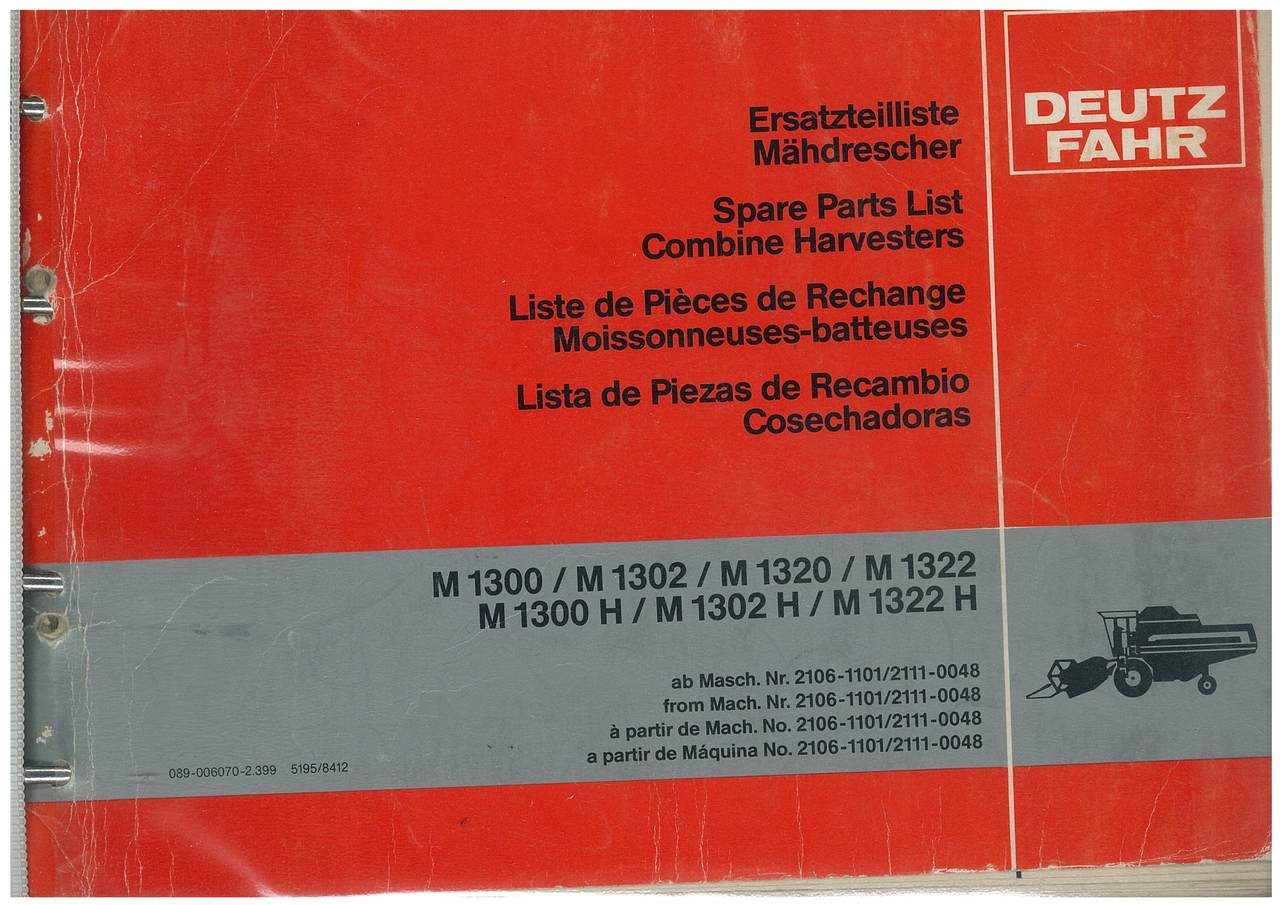 M 1300-1322H - Ersatzteilliste / Liste de Pièces de Rechange / Spare Parts List / Elenco dei Pezzi di Ricambio / Lista de Piezas de Recambio