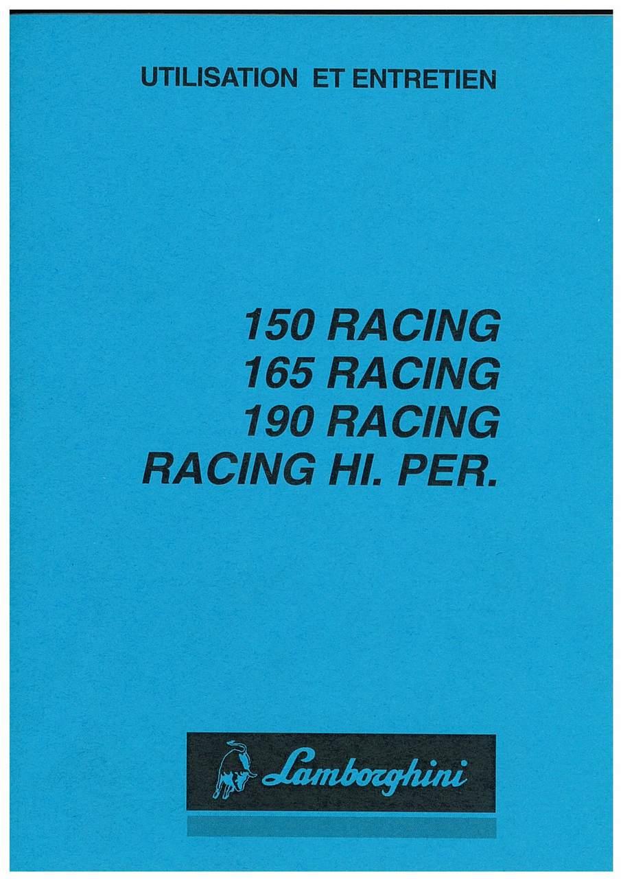 RACING 150 - 165 - 190 RACING HI. PER. - Utilisation et Entretien