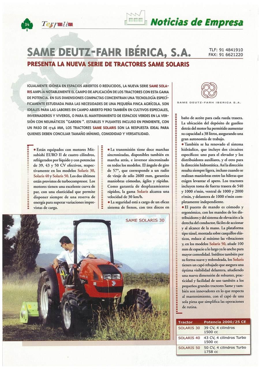 SAME Deutz-Fahr Ibérica, s.a presenta la nueva serie de tractores SAME Solaris