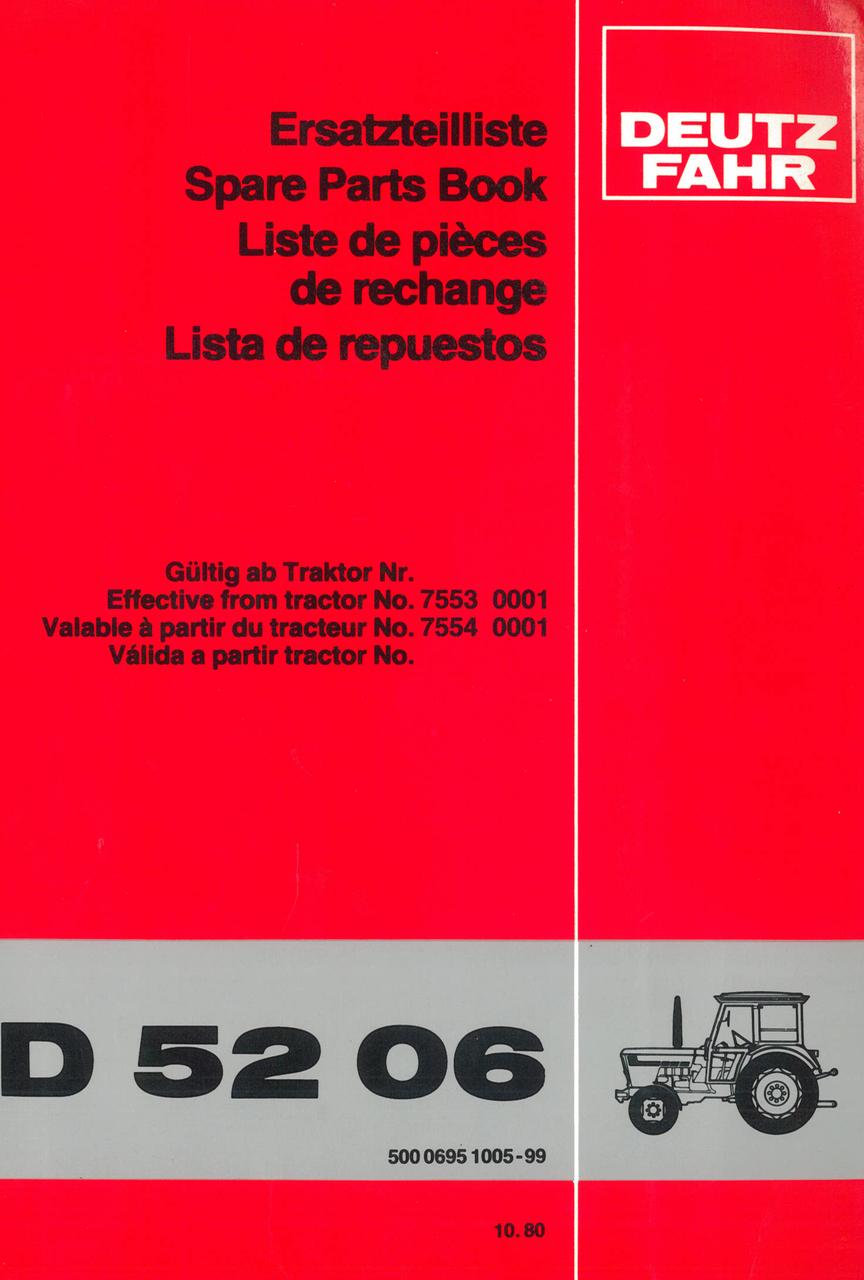 D 5206 - Ersatzteilliste / Spare Parts Book / Liste de pièces de rechange / Lista de repuestos