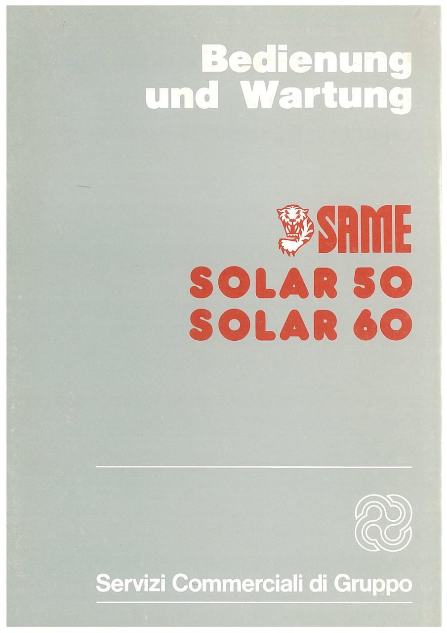 SOLAR 50 - 60 - Bedienung und wartung