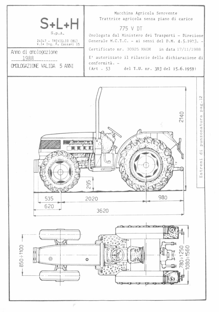 Atto di omologazione della trattrice Lamborghini 775 V DT