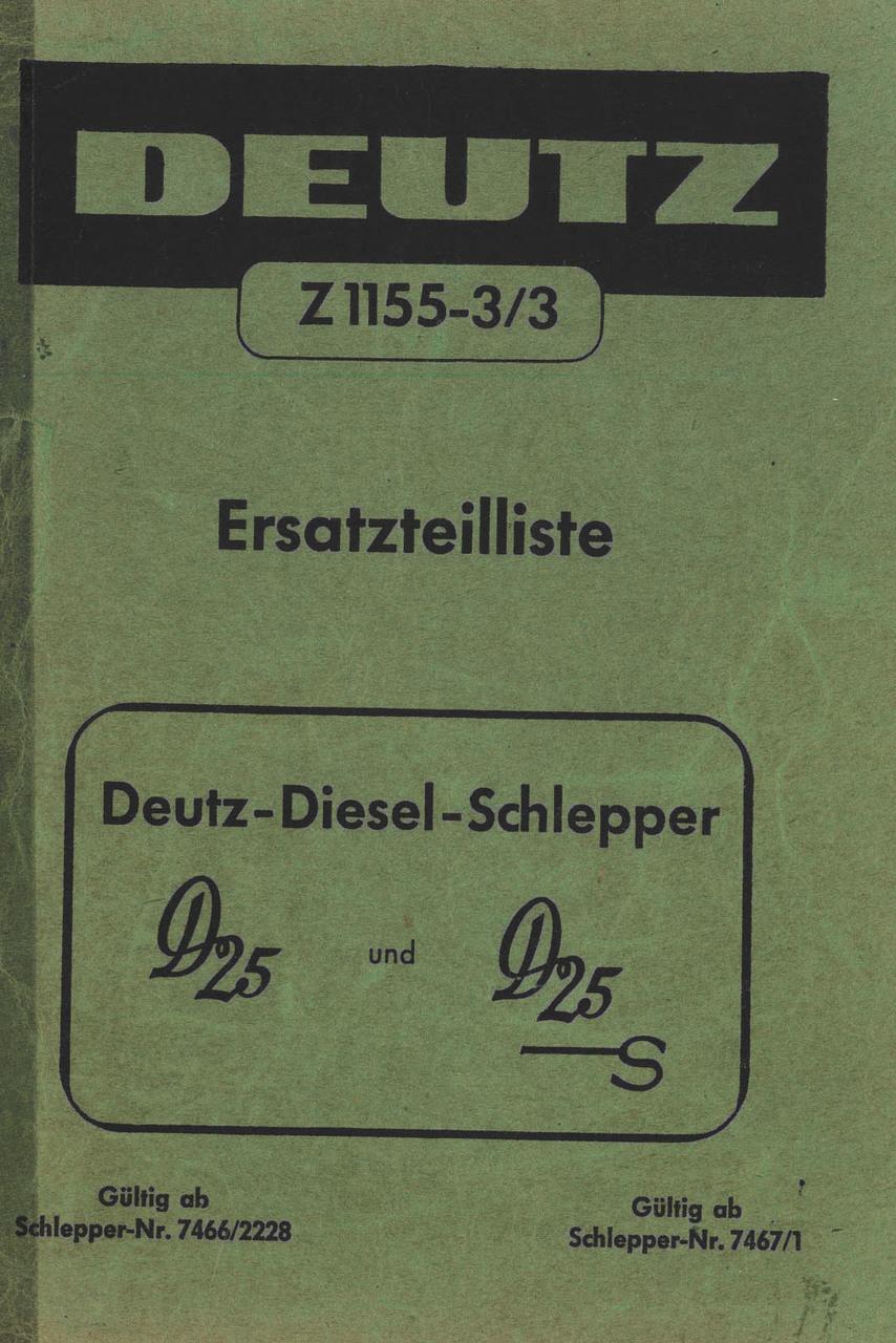 D 25 - D 25 S - Ersatzeilliste