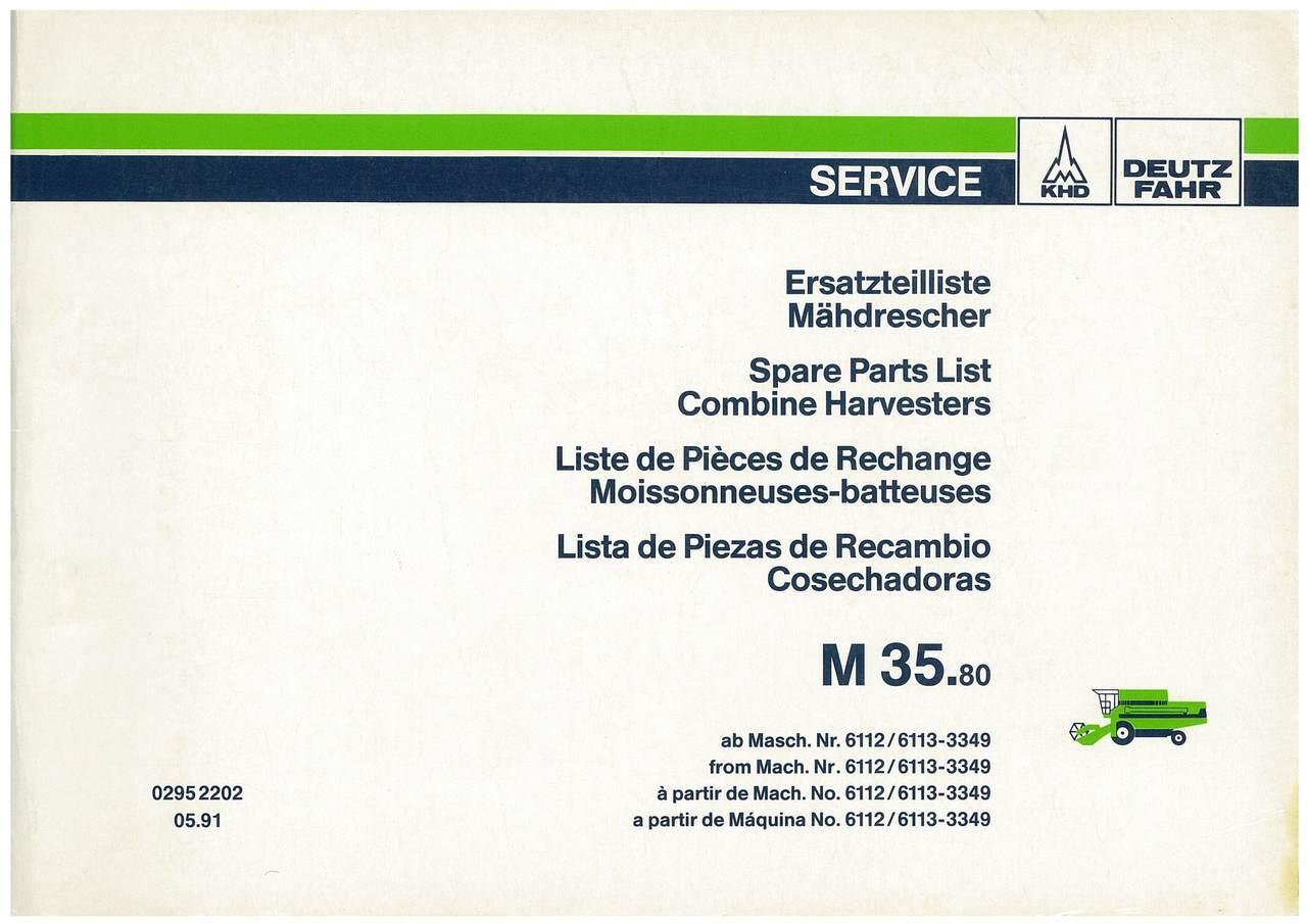 M 35.80 - Ersatzteilliste / Liste de Pièces de Rechange / Spare Parts List / Elenco dei Pezzi di Ricambio / Lista de Piezas de Recambio