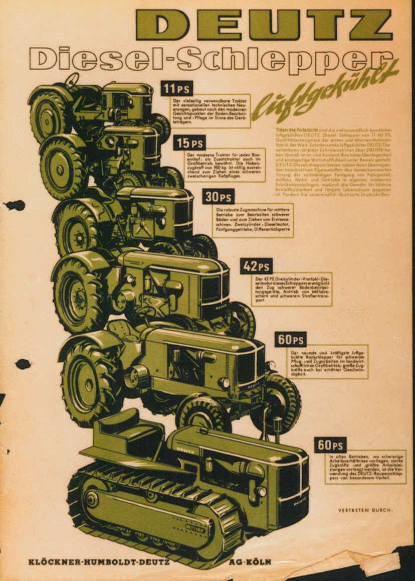 [Deutz] catalogo pubblicitario relativo ai trattori dagli 11 ai 60 cavalli di potenza