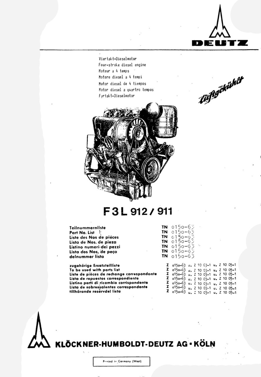 F3 L 912-911 - Ersatzteilliste / Spare parts catalogue / Catalogue de pièces de rechange / Lista de repuestos
