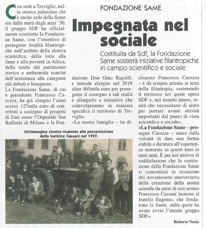 Fondazione Same. Impegnata nel sociale
