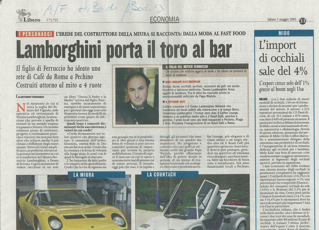 Lamborghini porta il toro al bar