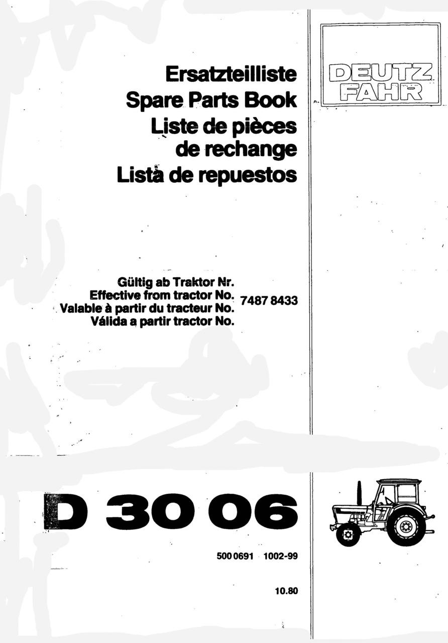 D 3006 - Ersatzteilliste / Spare Parts Book / Liste de pièces de rechange / Lista de repuestos