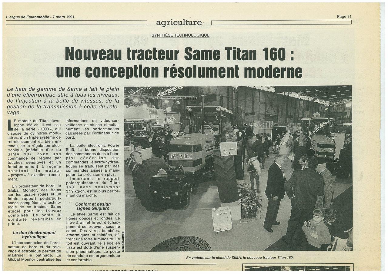 Nouveau tracteur SAME Titan 160: une conception résolument moderne