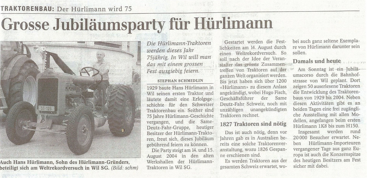 Grosse Jubiläumsparty fur Hurlimann