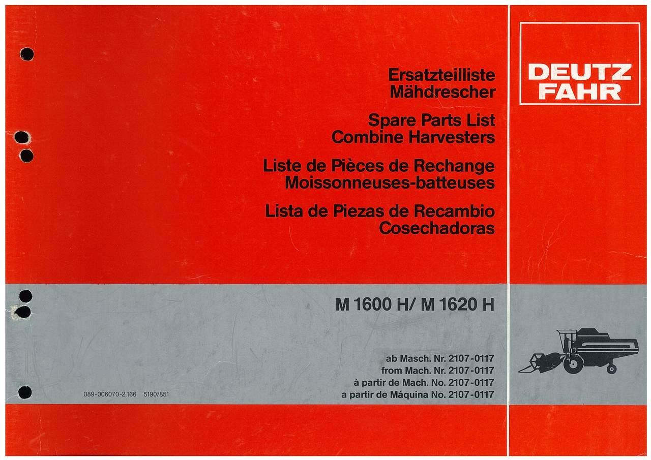 M 1600-1620 H - Ersatzteilliste / Liste de Pièces de Rechange / Spare Parts List / Elenco dei Pezzi di Ricambio / Lista de Piezas de Recambio