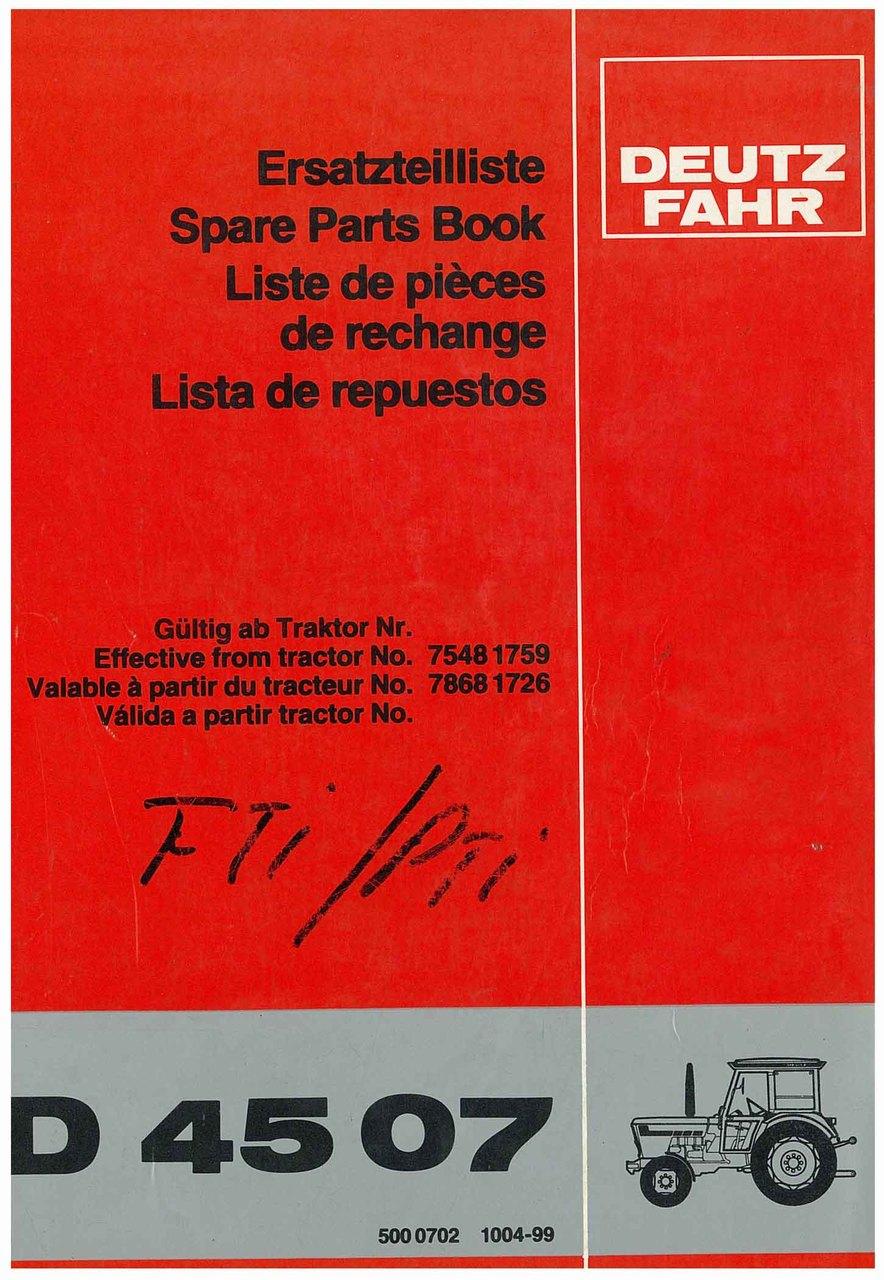 D 4507 - Ersatzteilliste / Spare Parts Book / Liste de pièces de rechange / Lista de repuestos